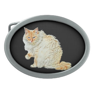 Flame point siamese cat 2 oval belt buckle