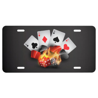 Flame Poker Casino Black 1 License Plate