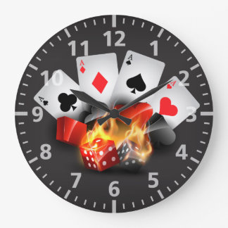 Flame Poker Casino Black Large Clock