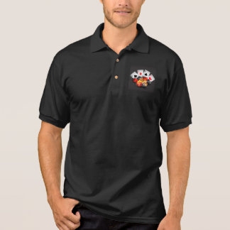 Flame Poker Casino Black Polo Shirt