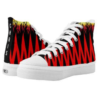 Flame Shark Teeth Red Black Zigzag High Tops