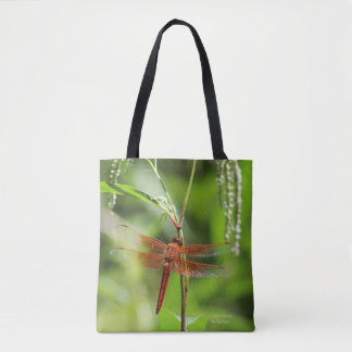 Flame Skimmer Dragonfly Tote Bag
