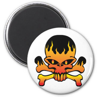 Flame skull 2 inch round magnet