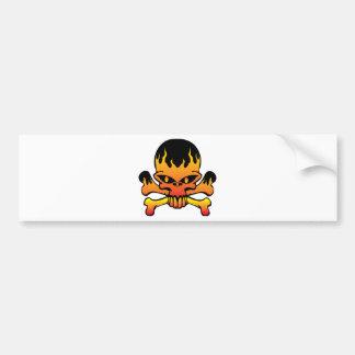 Flame skull bumper sticker