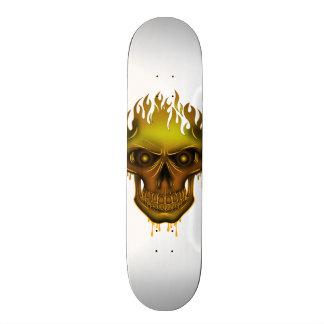 Flame Skull - Gold Custom Skateboard
