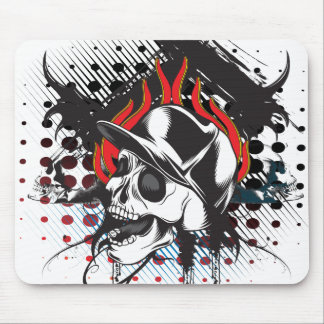 flame skull mouse pad