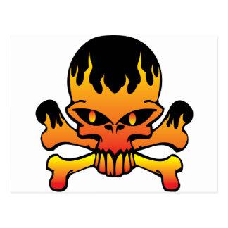 Flame skull postcard