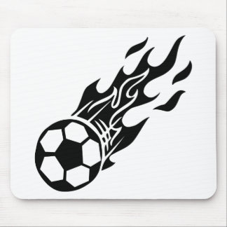 Flame Soccer Ball Mouse Pad