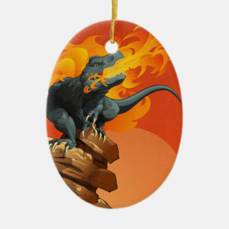 Flame Throwing Dinosaur Art by Michael Grills Ceramic Oval Ornament