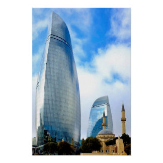Flame towers and Shahids Mosque Poster