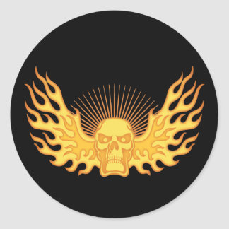 Flame-Wing-Skull Classic Round Sticker