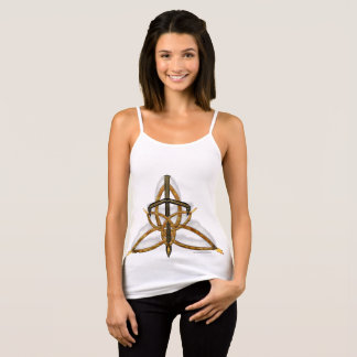 Flamed Triquetra Ladies Spaghetti Strap Tank Top