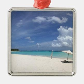 Flamenco Beach Culebra Puerto Rico Silver-Colored Square Ornament