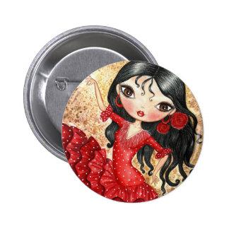 """""""Flamenco Dancer"""" 2 Inch Round Button"""