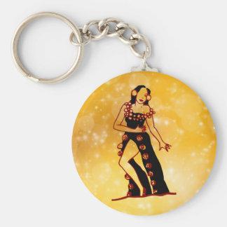 Flamenco dancer basic round button keychain
