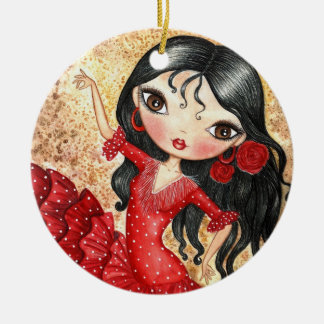 """""""Flamenco Dancer"""" Ceramic Ornament"""