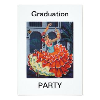 Flamenco Dancer Graduation Party Invitation