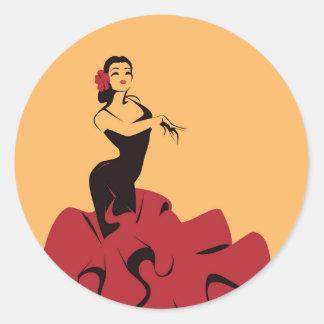 flamenco dancer in a spectacular pose classic round sticker