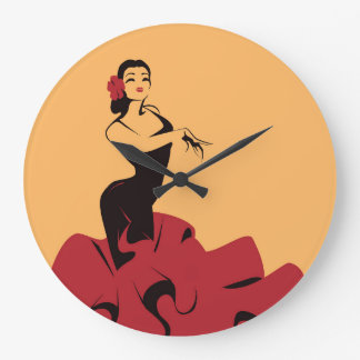 flamenco dancer in a spectacular pose large clock