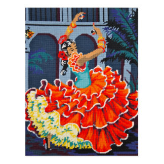 Flamenco Dancer in Colour Postcard