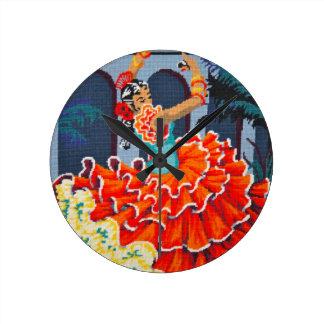 Flamenco Dancer in Colour Wall Clock