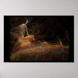 Flamenco dancer in fractal poster