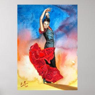 Flamenco dancer painting poster