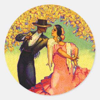 Flamenco Dancers under the Orange Trees Classic Round Sticker