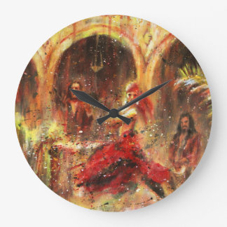 Flamenco Dancing in patio Andalusian Large Clock