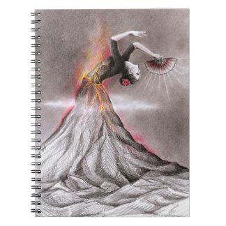 Flamenco dancing woman volcano surreal pencil art note books