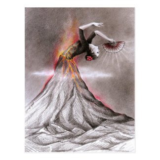 Flamenco dancing woman volcano surreal pencil art postcard