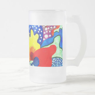 Flamenco Flowers. Frosted Glass Beer Mug