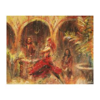 Flamenco in patio Andalusian Wood Print
