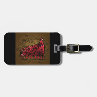 Flamenco Spain Dance Art red black brown Luggage Tag