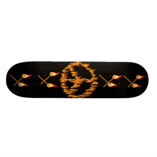 Flames and Hearts Peace Sign Skateboard Decks