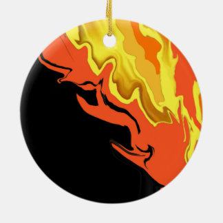 Flames at Night Ceramic Ornament