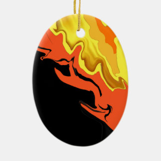 Flames at Night Ceramic Ornament