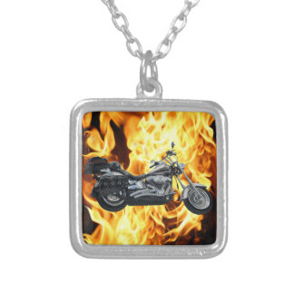 Flames & Cool Motorbike Power Machine Rider Gear Silver Plated Necklace