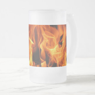flames frosted glass beer mug