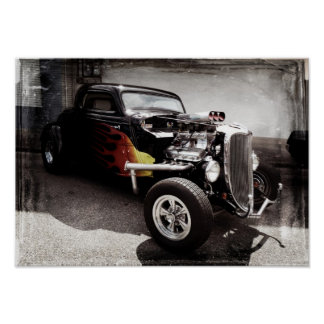 Flames  Hot Rod Poster