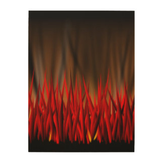 FLAMES OF FIRE WOOD CANVAS