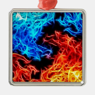 flames of good and evil Silver-Colored square ornament