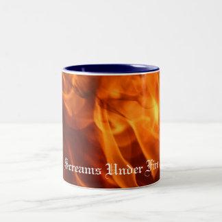 flames-sml, Screams Under Fire Two-Tone Coffee Mug