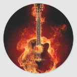flamin guitar round stickers