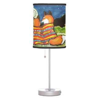 """Flamin' Love"" Lamp,  Foxes Snuggle Under the Moon Table Lamp"