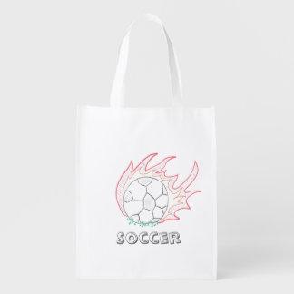 Flamin' Soccer ball reusable bag Grocery Bags