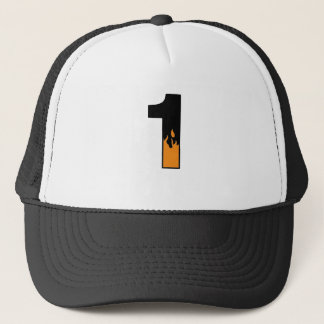 Flaming 1 trucker hat