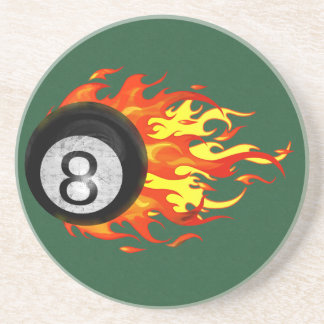 Flaming 8 Ball Drink Coasters