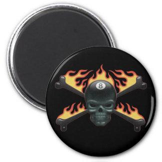 Flaming 8 Skull Magnet