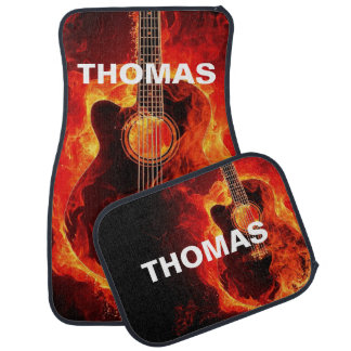 Flaming Acoustic Guitar Personalized Car Mat